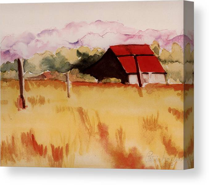 Watercolor Landscape Canvas Print featuring the painting Sonoma Wheatfield by Patricia Halstead