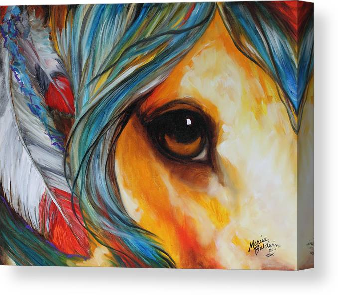 Indian Canvas Print featuring the painting Spirit Eye Indian War Horse by Marcia Baldwin