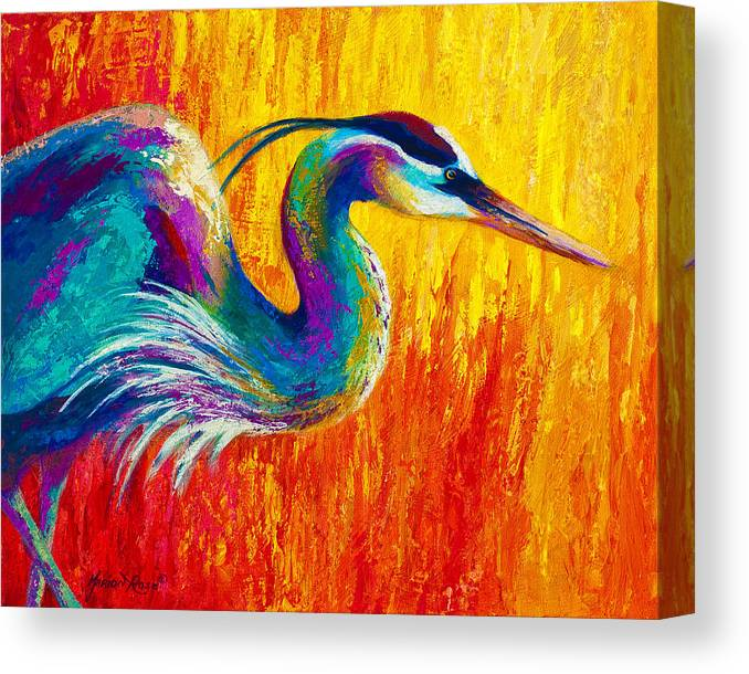 Heron Canvas Print featuring the painting Stalking The Marsh - Great Blue Heron by Marion Rose