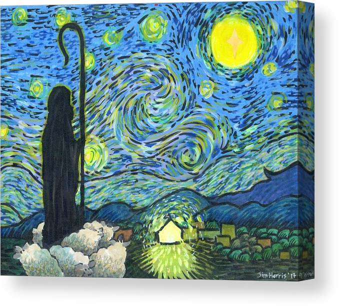 Star Canvas Print featuring the painting Starry Night Bethlehem by Jim Harris
