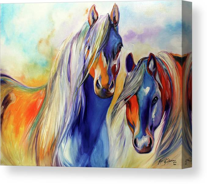 Marcia Canvas Print featuring the painting SUN and SHADOW EQUINE ABSTRACT by Marcia Baldwin