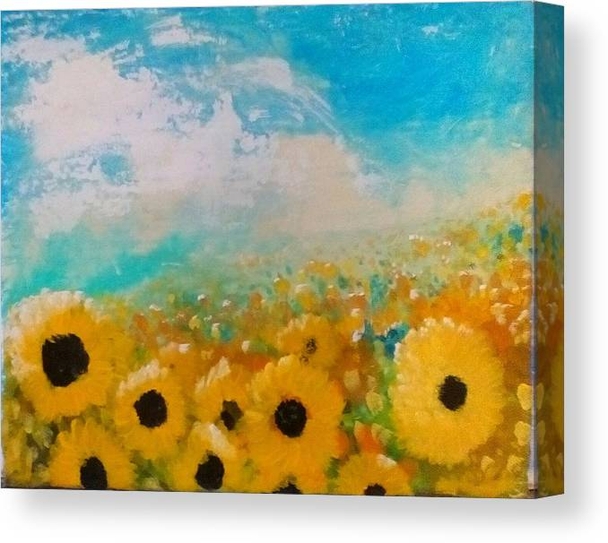 Flowers Canvas Print featuring the painting Sun flower by J Bauer