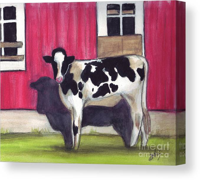 Cow Canvas Print featuring the painting Sunny side of the barn by Debra Sandstrom