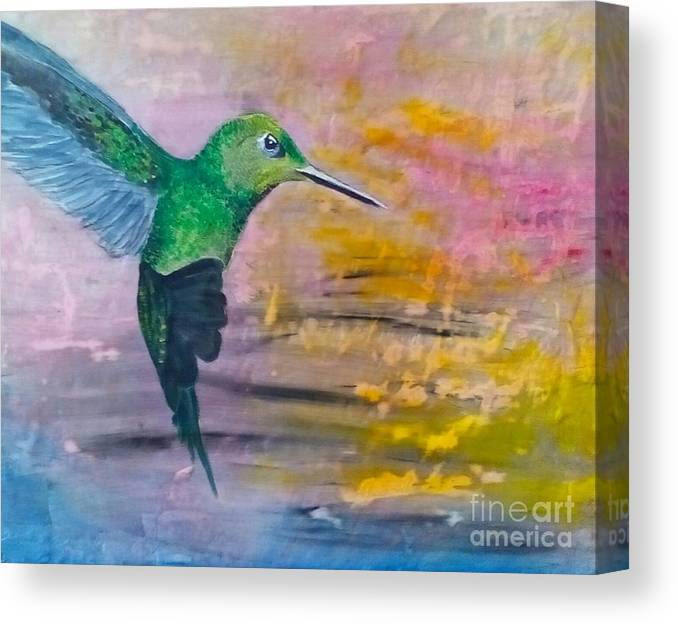 Hummingbird Canvas Print featuring the painting Sunset Dancer by J Bauer