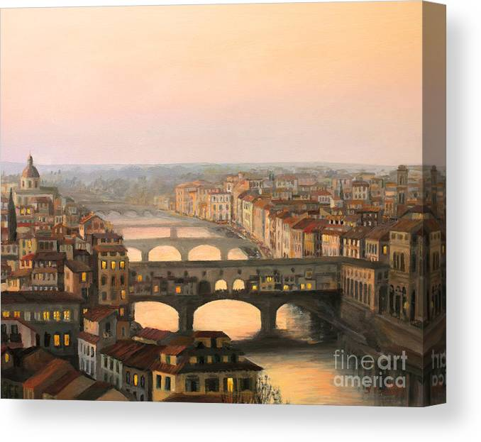 Ancient Canvas Print featuring the painting Sunset over ponte Vecchio in Florence by Kiril Stanchev