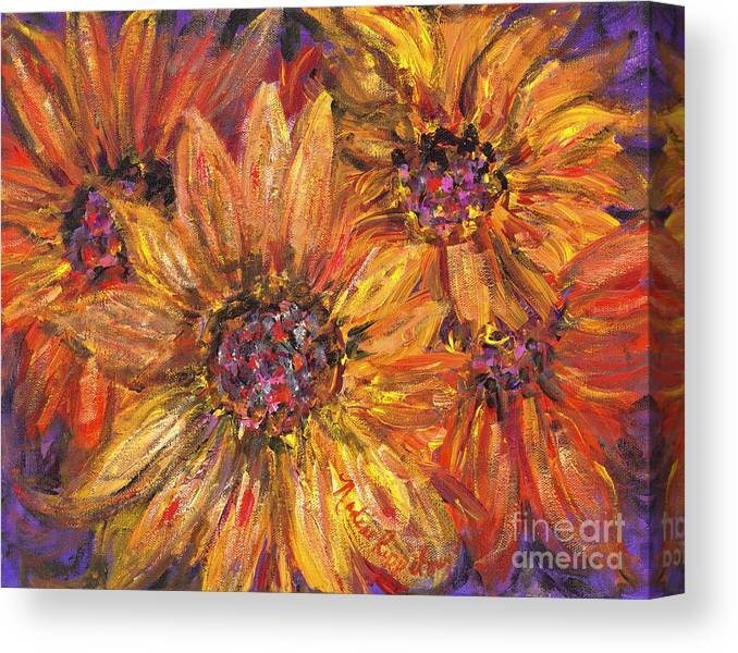 Yellow Canvas Print featuring the painting Textured Gold and Red Sunflowers by Nadine Rippelmeyer