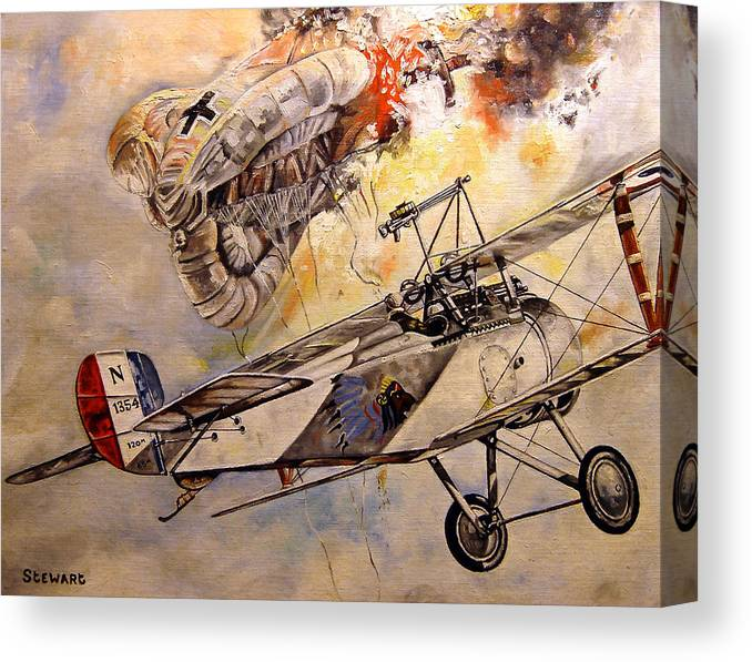 Military Canvas Print featuring the painting The Balloon Buster by Marc Stewart