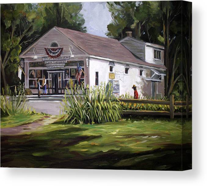 Buildings Canvas Print featuring the painting The Country Store by Nancy Griswold