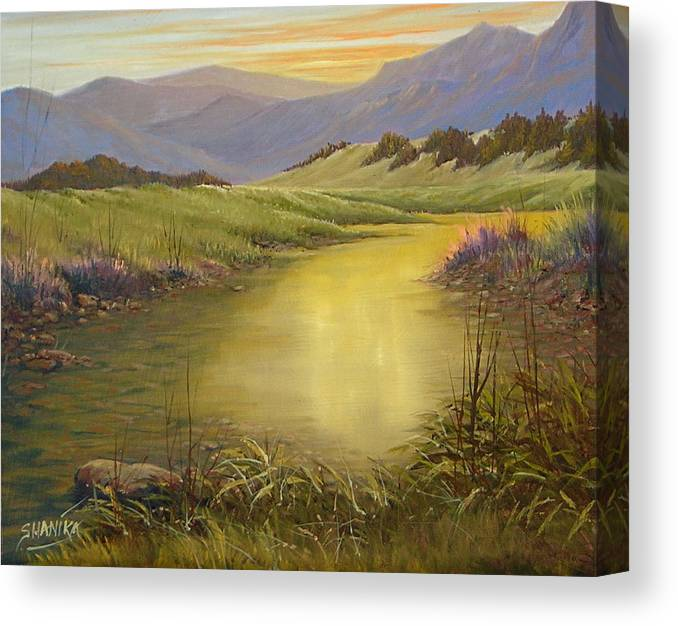 Landscape Canvas Print featuring the painting The End Of The Day 070714-79 by Kenneth Shanika