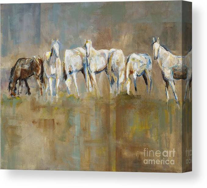 Horses Canvas Print featuring the painting The Horizon Line by Frances Marino