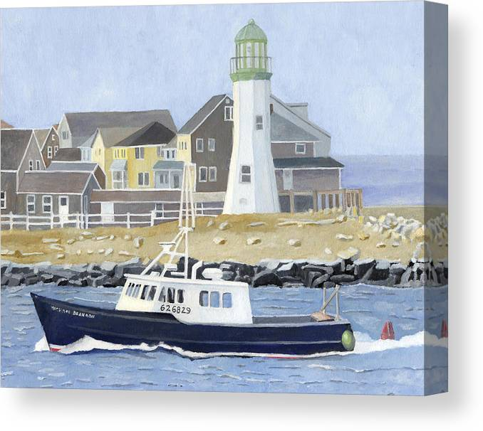 Fishingboat Canvas Print featuring the painting The Michael Brandon by Dominic White