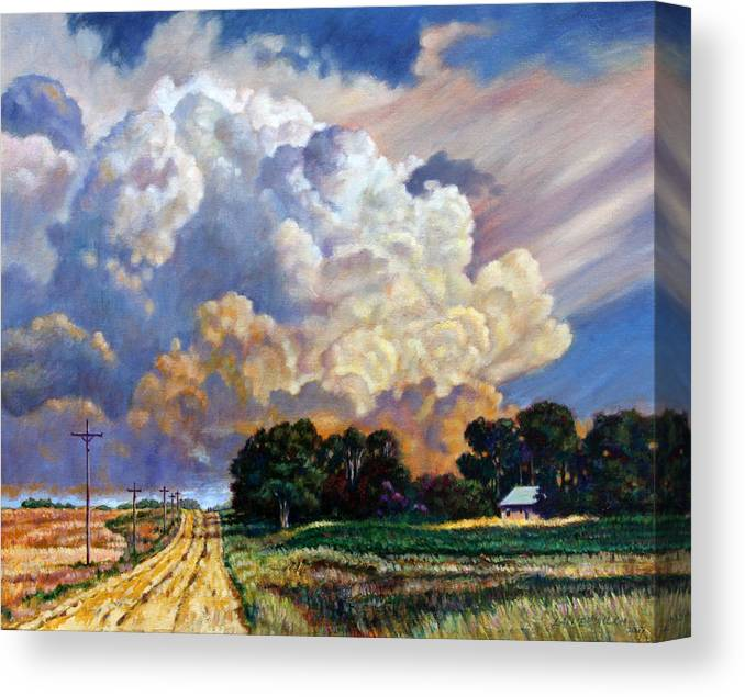 Landscape Canvas Print featuring the painting The Road Home by John Lautermilch