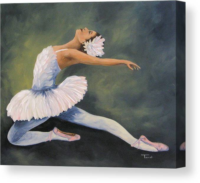 Ballerina Canvas Print featuring the painting The Swan IV by Torrie Smiley