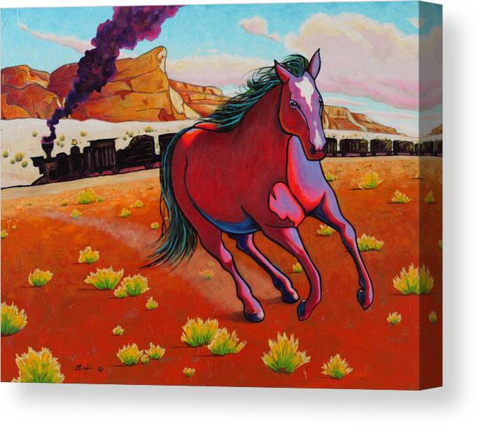 Wildlife Canvas Print featuring the painting The Wild One - Mustang by Joe Triano