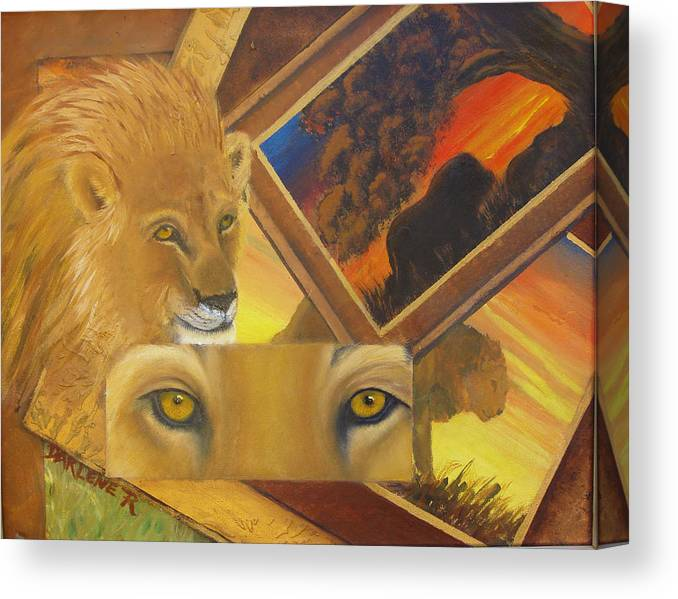 Lion Canvas Print featuring the painting Those Eyes Lion by Darlene Green