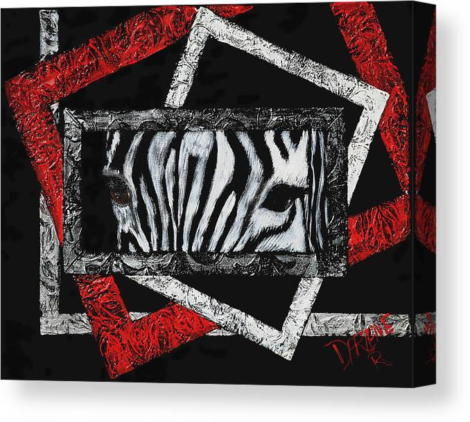Abstract Canvas Print featuring the painting Those Eyes...zebra by Darlene Green