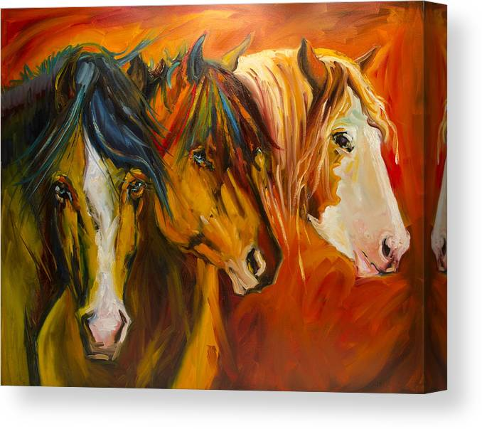 Horse Canvas Print featuring the painting Three at the Fence Line by Diane Whitehead