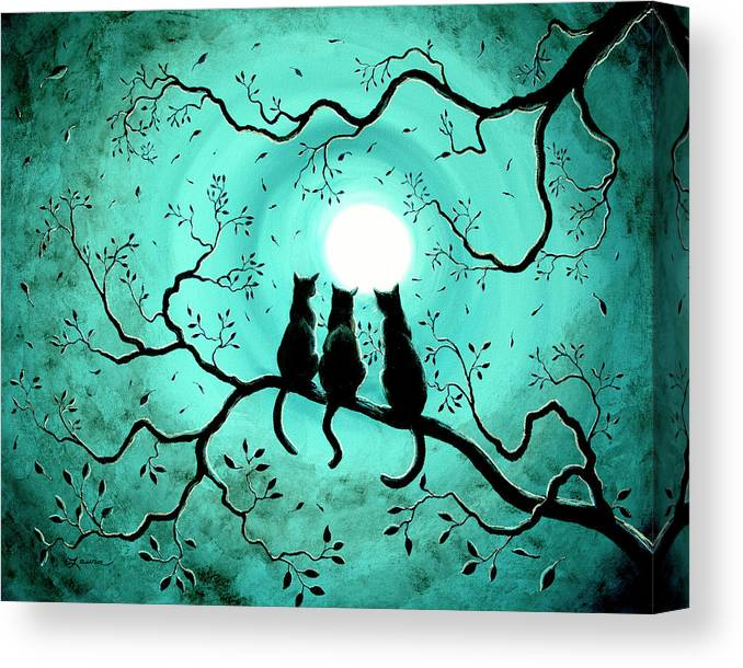 Black Canvas Print featuring the painting Three Black Cats Under a Full Moon by Laura Iverson