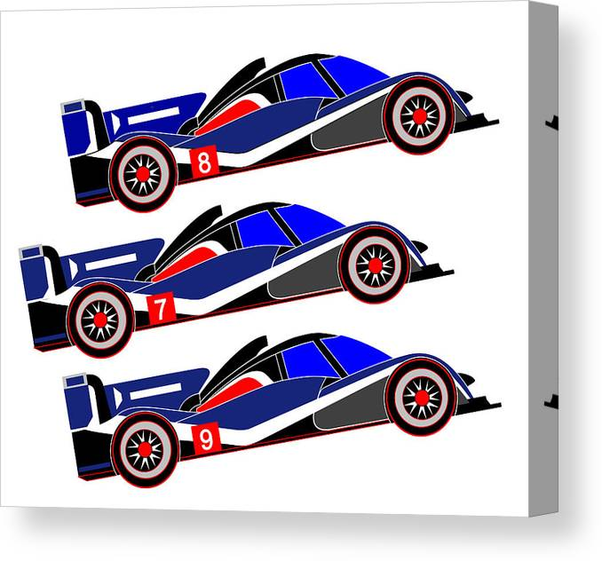Peugeot Canvas Print featuring the digital art To Peugeot 908s Le Mans 2011 was Uphill by Asbjorn Lonvig