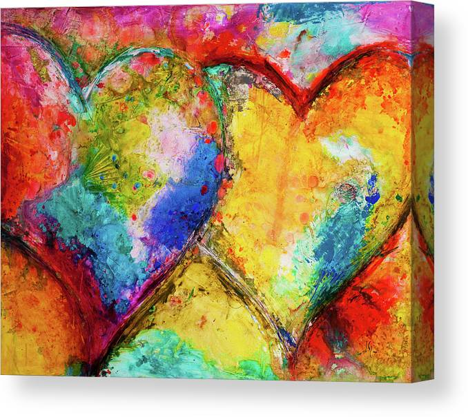 COLOURFUL HEARTS ABSTRACT CANVAS PRINT WALL ART MODERN DESIGN READY TO HANG