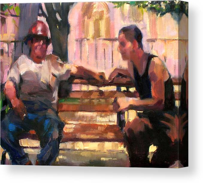 Men Canvas Print featuring the painting Two Men on a Bench by Merle Keller