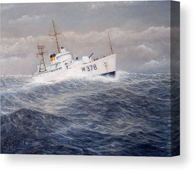 Coast Guard Cutter Canvas Print featuring the painting U. S. Coast Guard Cutter Halfmoon by William Ravell