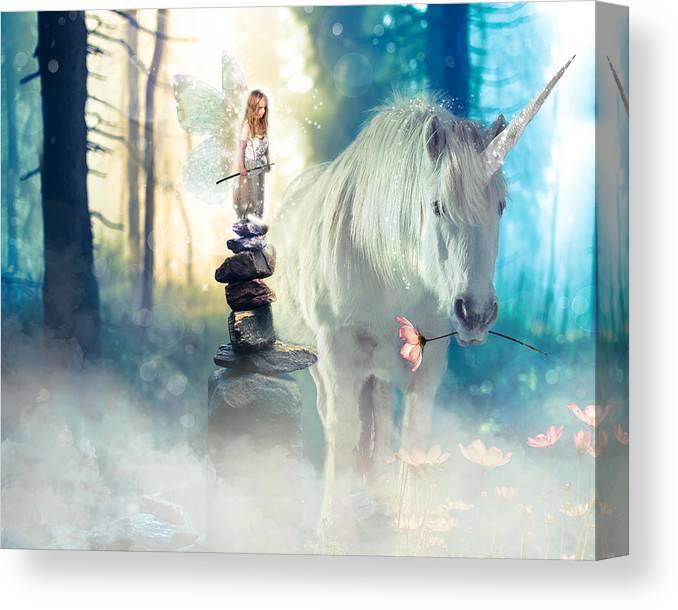 Fairy Canvas Print featuring the digital art Grumpy Fairy with Unicorn by Laura Ostrowski