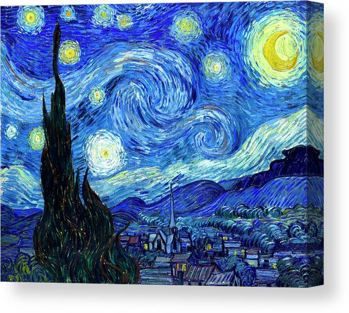 BLACK STARRY NIGHT BY VINCENT VAN GOGH PICTURE POSTER FRAMED
