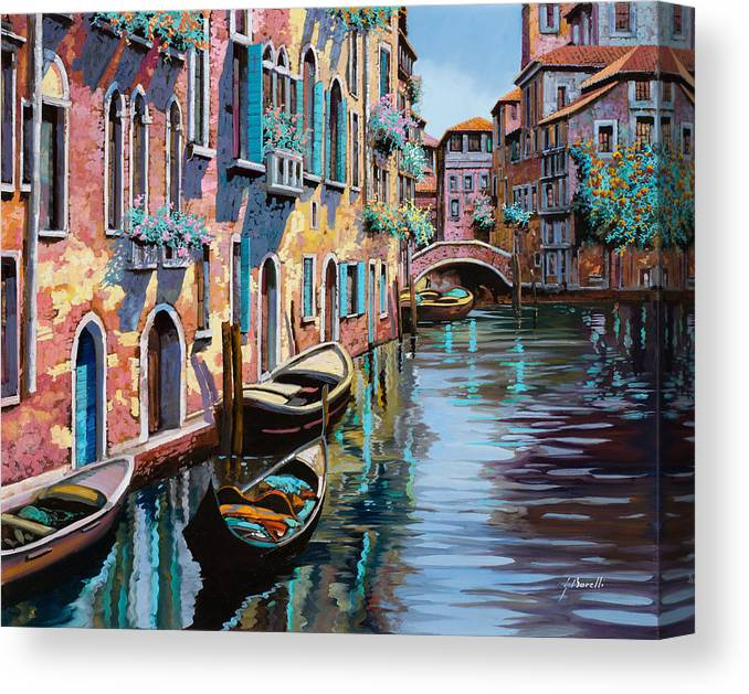 Venice Canvas Print featuring the painting Venezia In Rosa by Guido Borelli