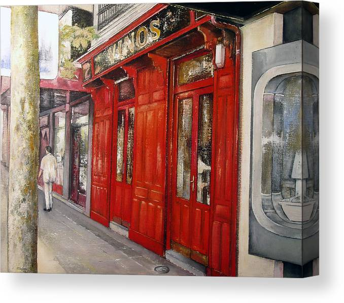 Urban Canvas Print featuring the painting Vinos Sagasta by Tomas Castano