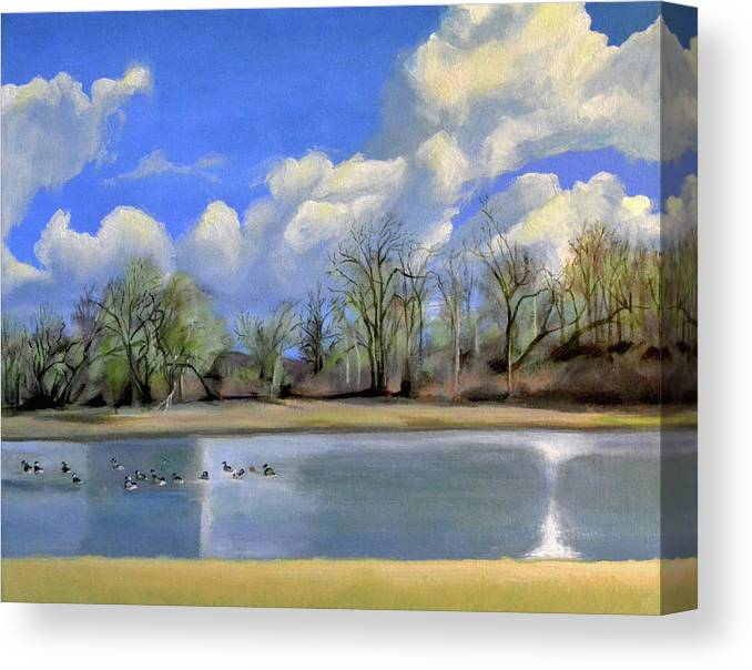Vancouver Canvas Print featuring the painting Watering Hole with Geese by Mary Chant