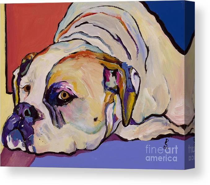 American Bulldog Canvas Print featuring the painting Where Is My Dinner by Pat Saunders-White