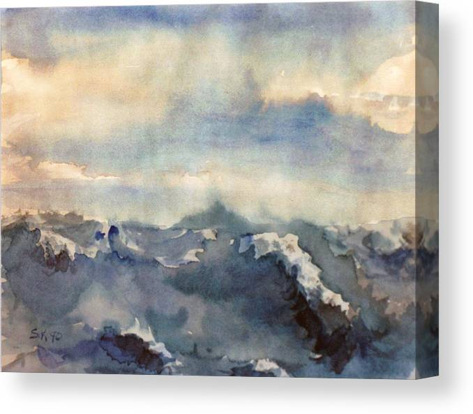 Seascape Canvas Print featuring the painting Where Sky Meets Ocean by Steve Karol
