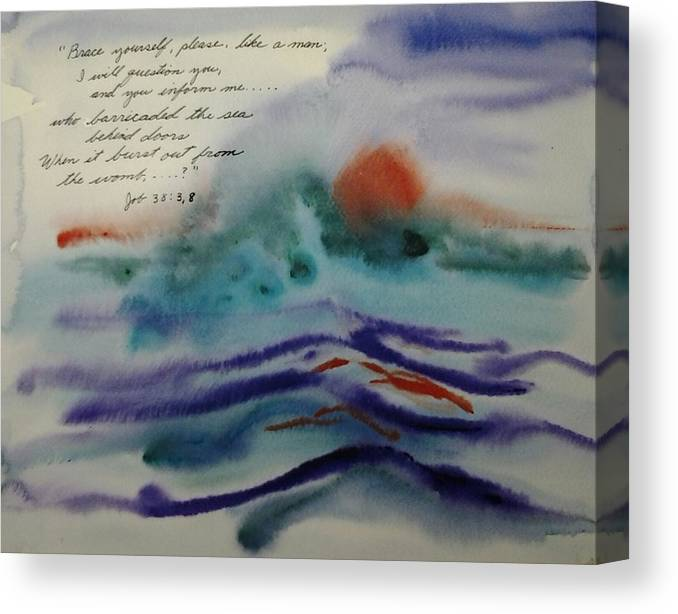 Watercolor Canvas Print featuring the painting Who Barricated the Sea? by B L Qualls