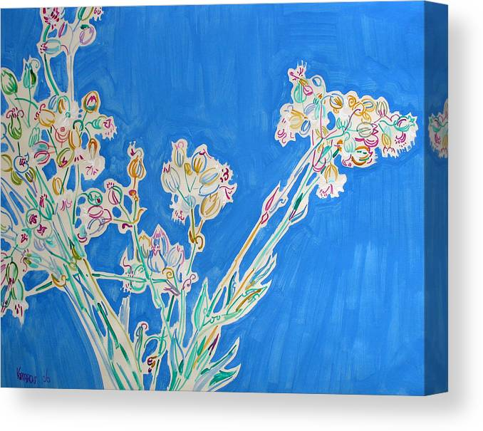 Wild Canvas Print featuring the painting Wild Flowers on Blue by Vitali Komarov