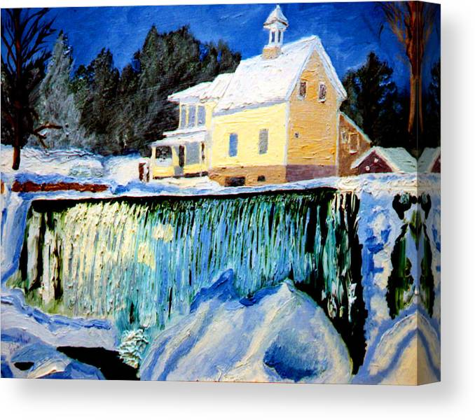 Waterfalls Canvas Print featuring the painting Winter Falls by Stan Hamilton