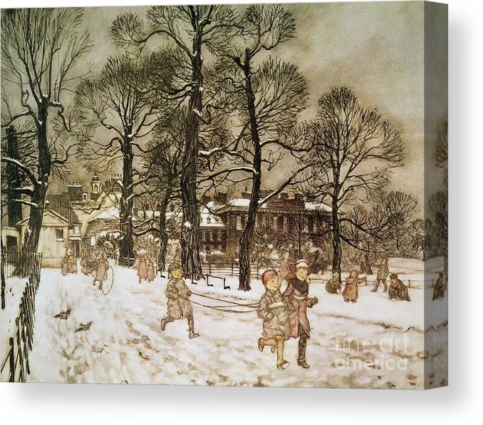 Arthur Rackham Canvas Print featuring the drawing Winter in Kensington Gardens by Arthur Rackham