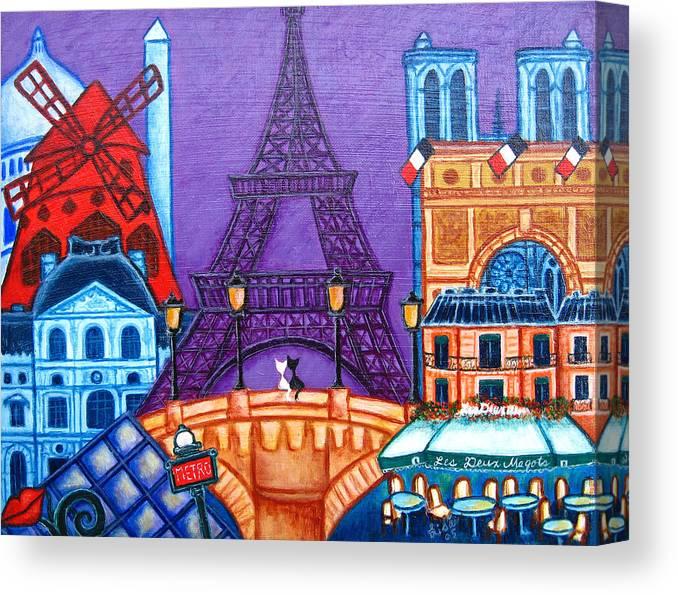 Paris Canvas Print featuring the painting Wonders of Paris by Lisa Lorenz