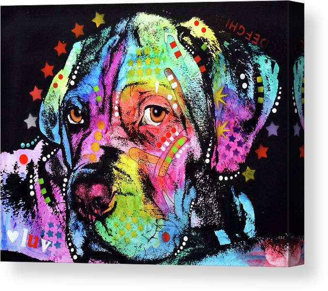 Young Mastiff Canvas Print featuring the mixed media Young Mastiff by Dean Russo