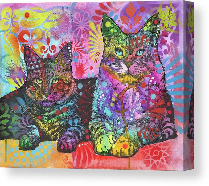 2 Cats Canvas Print featuring the mixed media 2 Cats by Dean Russo