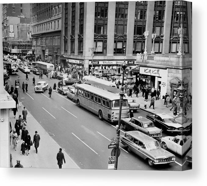 Pedestrian Canvas Print featuring the photograph General View Of Pedestrians Crossing by New York Daily News Archive