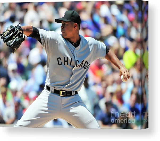 Three Quarter Length Canvas Print featuring the photograph Chicago White Sox V Chicago Cubs by David Banks