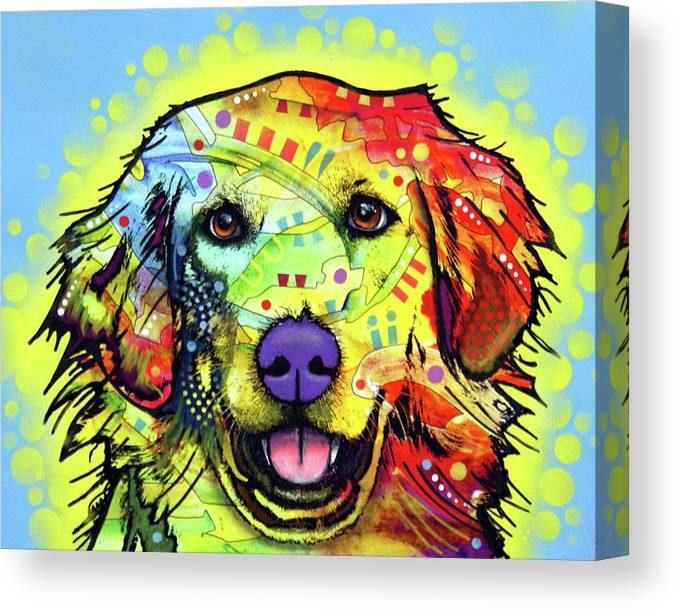 Golden Retriever Canvas Print featuring the mixed media Golden Retriever by Dean Russo
