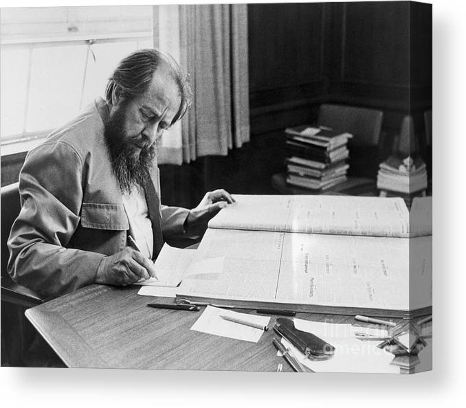 People Canvas Print featuring the photograph Author Aleksandr Solzhenitsyn by Bettmann