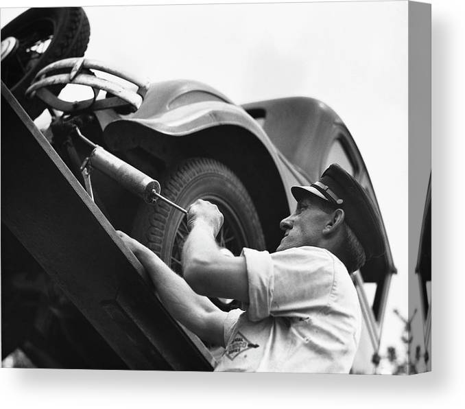 Working Canvas Print featuring the photograph Auto Mechanic Vintage by George Marks