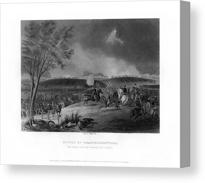 Engraving Canvas Print featuring the drawing Battle Of Chancellorsville, Fought by Print Collector