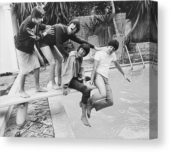 Singer Canvas Print featuring the photograph Beatles In La by Express