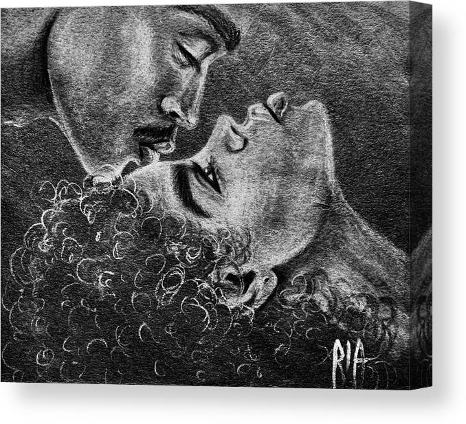 Marriage Canvas Print featuring the drawing Bone of my Bone by Artist RiA