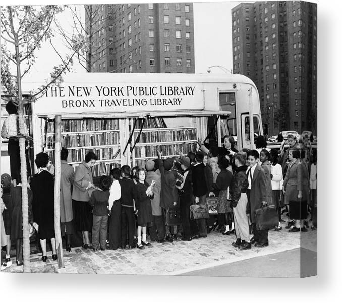 B1019 Canvas Print featuring the photograph Bookmobile, 1950s by Granger
