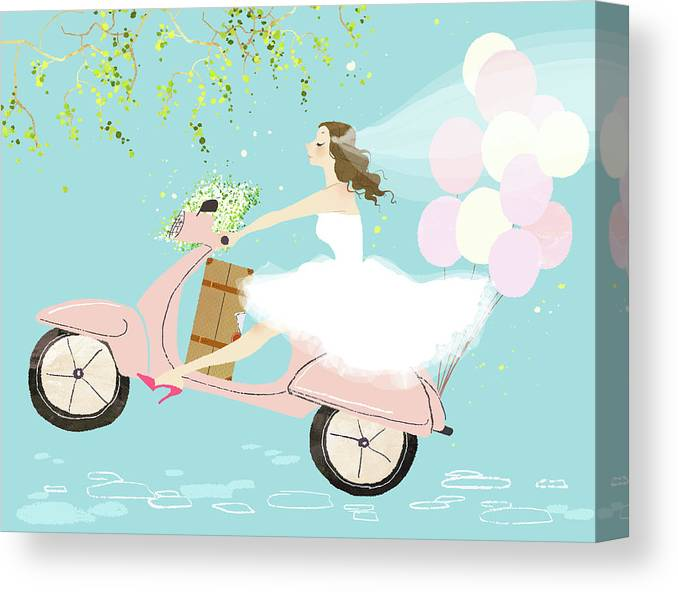 People Canvas Print featuring the digital art Bride On Scooter by Eastnine Inc.